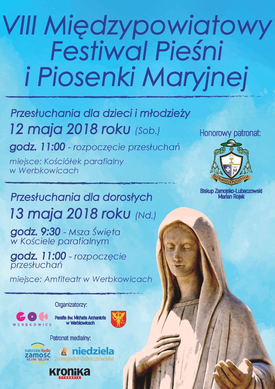 Zapraszamy na VIII Międzypowiatowy Festiwal Pieśni i Piosenki Maryjnej